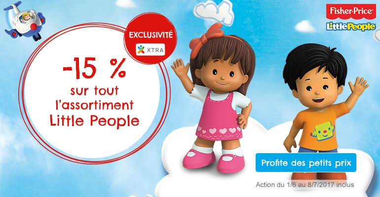 Profite de 15 % de réduction sur tout l'assortiment Little People du 1/6 au 8/7/2017 inclus.