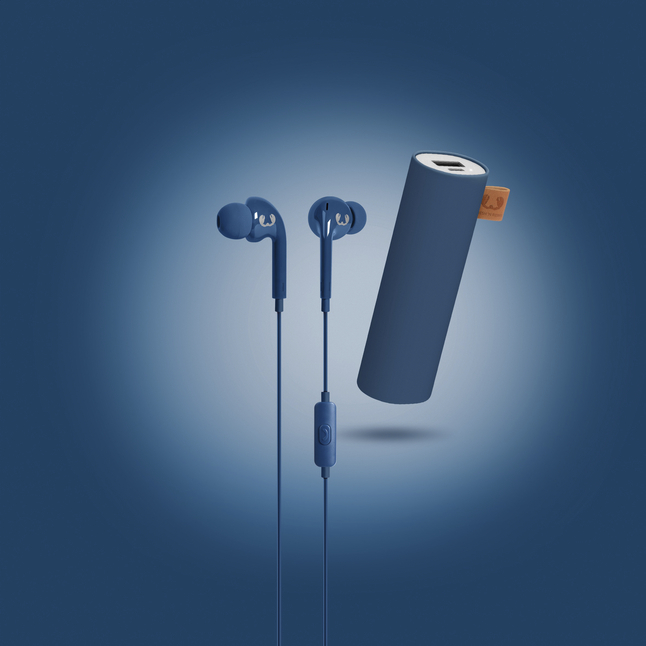 Fresh 'n Rebel powerbank + hoofdtelefoon in-ear Indigo